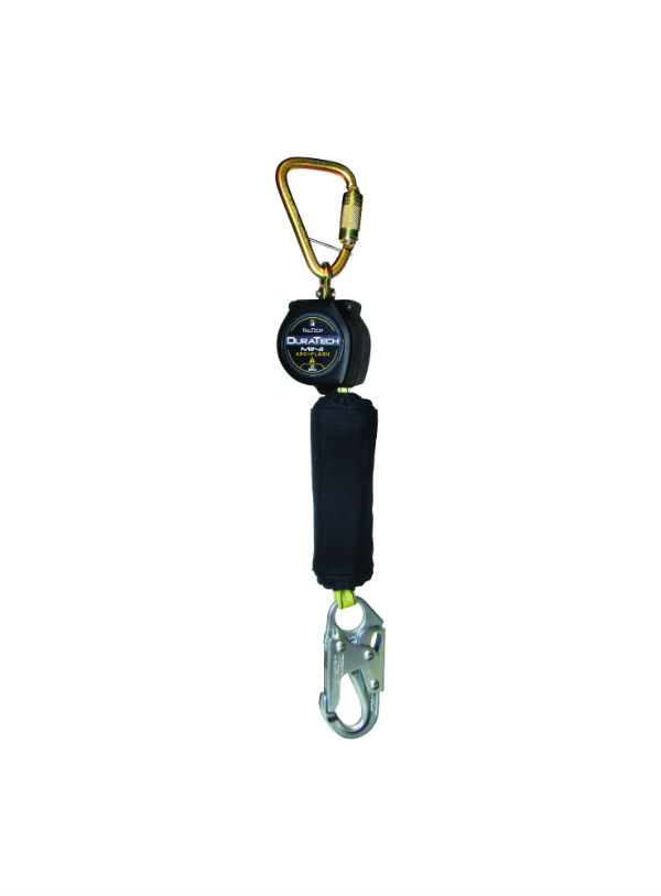 FallTech 72906SC1 Dura Tech 6' Mini Web SRD, Single Leg, Steel Carabiner w/ Steel Snap Hook Connector