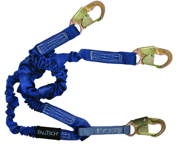 FallTech 8240Y Elastech Internal Elastic Lanyard, Y-Leg w/ 3 Steel Snap Hooks, Expands 4.5' to 6'.