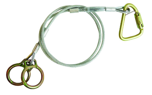 "FallTech 84202 Carabiner Sling Anchor, 2 O-Rings and Carabiner, 1/4"" Galvanized Cable, Available in 4 Sizes 3'-10'"
