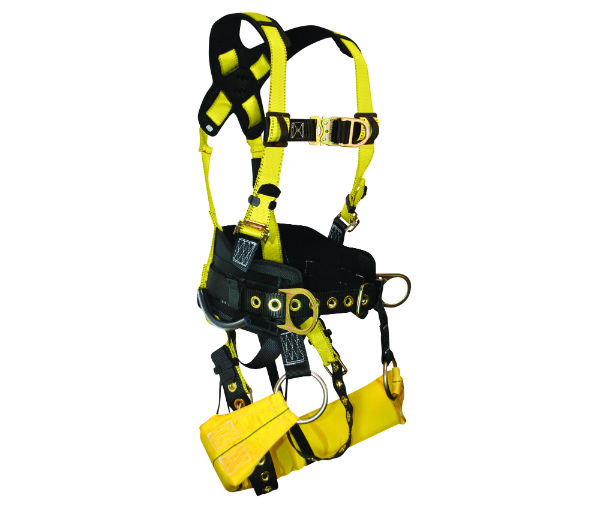 "FallTech 7042 TowerClimber Harness, 6 D-Rings, 6"" Waist Pad, Padded Workseat Sling, Available in 4 Sizes"