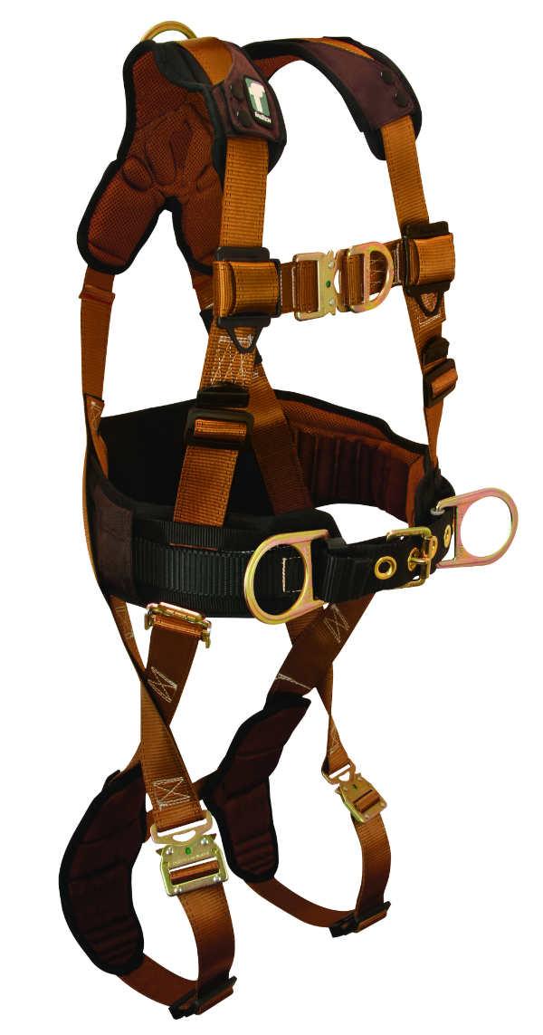 FallTech 7083FD Belted Climbing Harness, 4 D-Rings, Lumbar Waist Pad, 4 Sizes Available