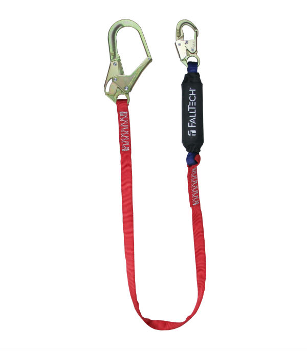 FallTech 8247B3 Ironman 6'-12' Freefall Shock Absorbing Lanyard w/ 1 Steel Snap Hook and 1 Rebar Hook