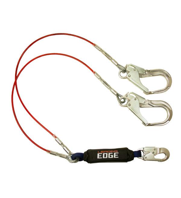 FallTech 8354LEY3A 6' Leading Edge Shock Absorbing Lanyard, Y-Leg w/ Aluminum Snap Hook and 2 Rebar Hooks.