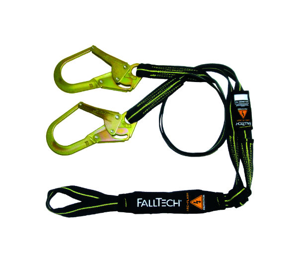 FallTech 8242Y3L 6' Y-Leg Arc Flash Shock Absorbing Lanyard, 1 Loop and 2 Rebar Hooks, Kevlar and Nomax Web