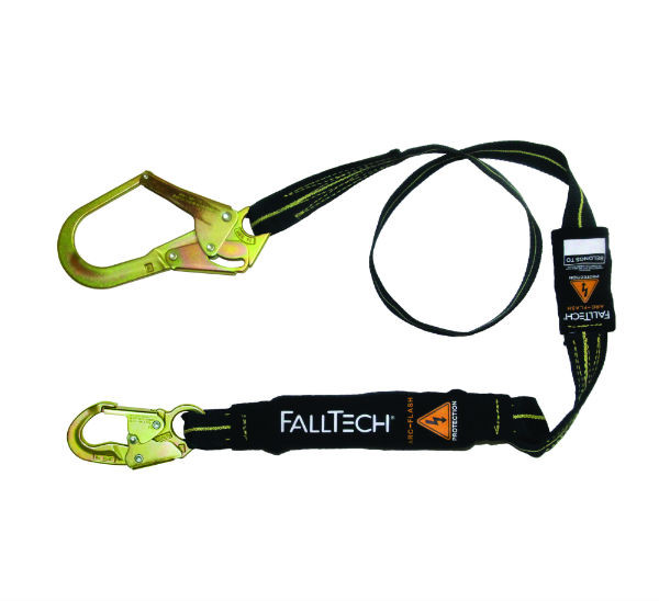 FallTech 82423AF 6' Arc Flash Shock Absorbing Lanyard, 1 Steel Snap Hook and 1 Rebar Hook, Kevlar and Nomex Web