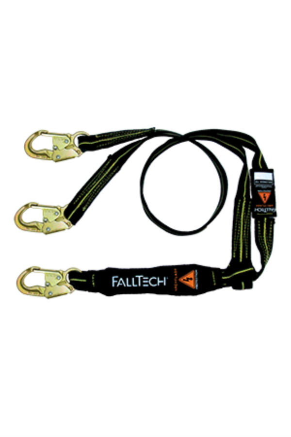 FallTech 8242YAF 6' Arc Flash Shock Absorbing Lanyard, Y-Leg, 3 Steel Snap Hooks, Kevlar and Nomex Web