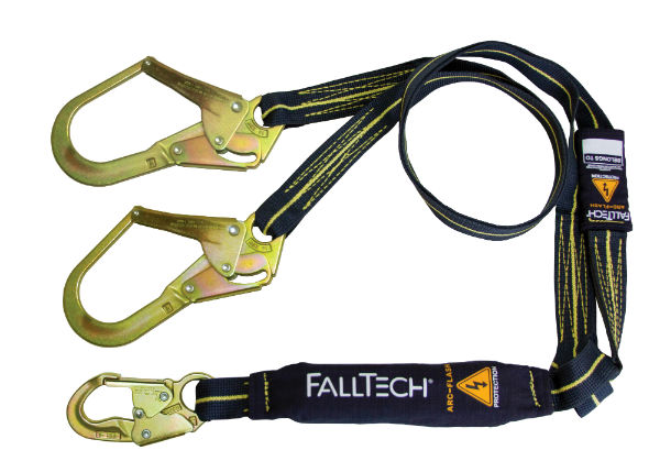 FallTech 8242Y3AF 6' Arc Flash Shock Absorbing Lanyard, Y-Leg, 1 Steel Snap Hook and 2 Rebar Hooks, Kevlar and Nomex Web