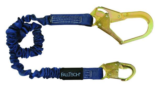 FallTech 82403 Elastech Internal Elastic Lanyard, Expands 4.5'-6', 1 Snap Hook and 1 Rebar Hook