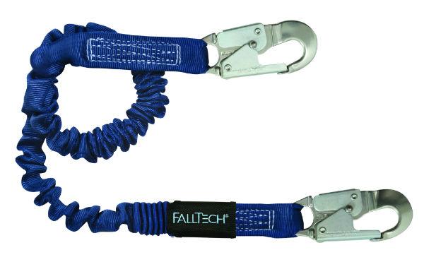 FallTech 8240A Elastech Shock Absorbing Lanyard, Expands 4.5'-6', 2 Aluminum Snap Hooks