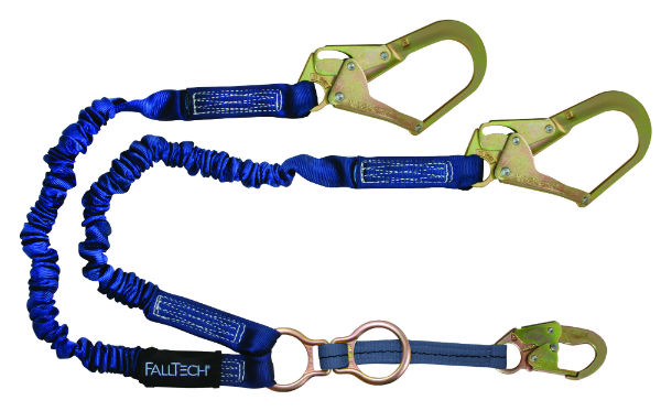 FallTech 8240Y32D Y-Leg Elastech Lanyard, Expands 4.5'-6' w/ 1 Snap Hook and 2 Rebar Hook, 1 D-Ring for SRL Attachment