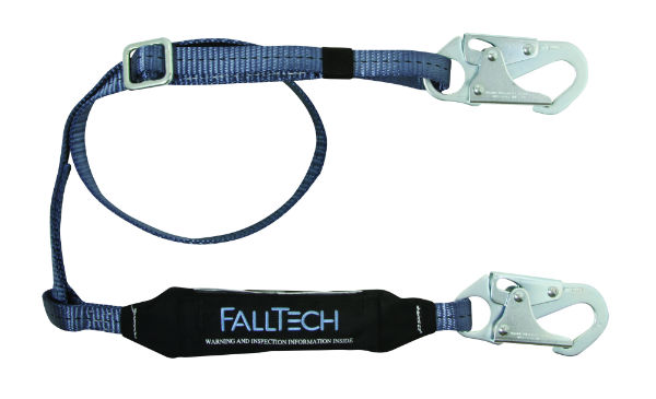 FallTech 8257 ViewPack Web Shock Absorbing Lanyard, Single Leg w/ 2 Snap Hooks