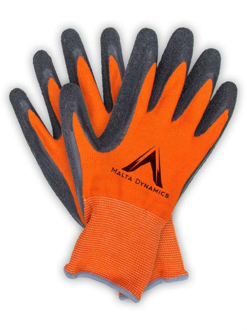 Malta Orange Polyester Gloves w/ Latex Palm (12 Pair Pack)