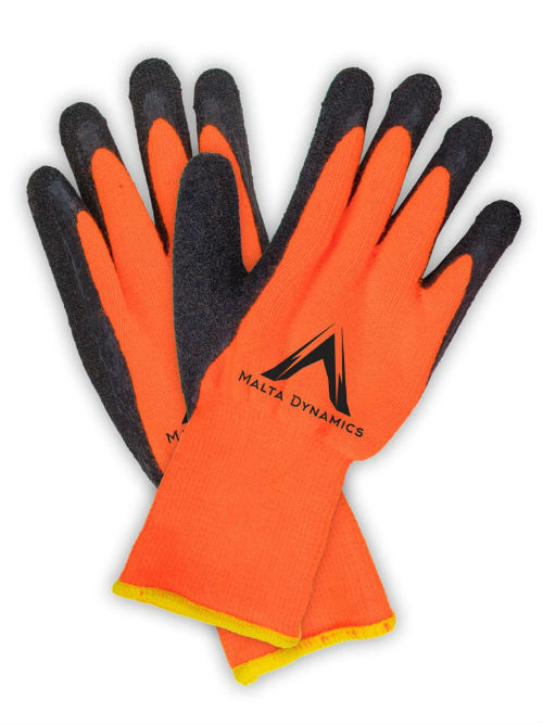 Malta G3500 Orange Brush Terry Gloves w/ Latex Palm (12 Pair Pack)