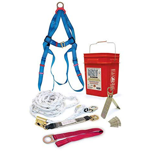 """Super Anchor 3001 MAX PolyDacron Lifeline 4020+3004k Absorber w/4015M Rope Grab+3005C 48"""" Tie Off Strap+3pt Universal Harness+3013 Hinge Anchor"""