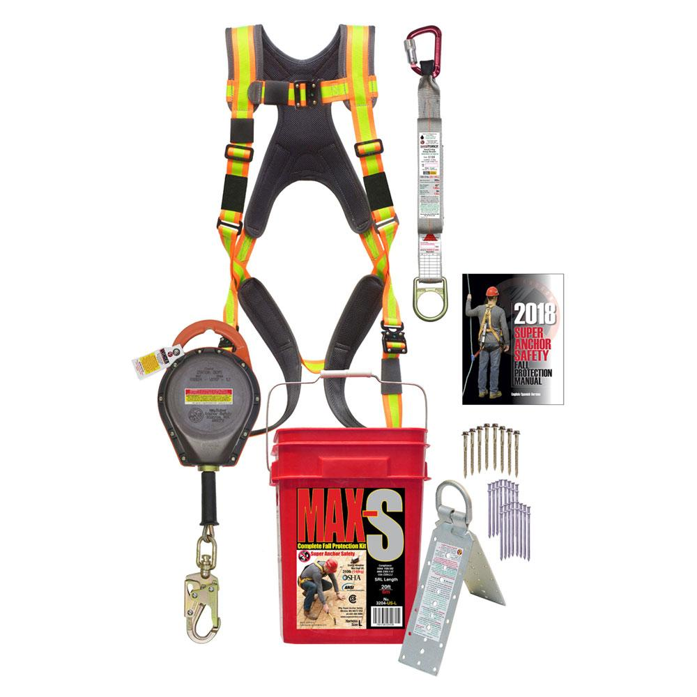 Super Anchor MAX-S 30ft. SRL Fall Protection Kit: 2903k + PD-6101-HL +I6061 + 5006 + 3013-D USA Version