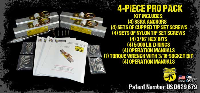 4 Piece Pro Pack with 4 Anchors, Nylon Tip Set Screws, and Torque Wrench