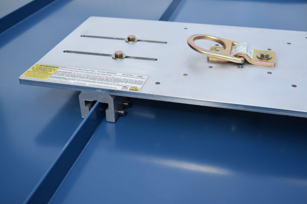 SSRA3 Anchor Plate secured to a standing seam roof using SSRA1 anchor points.
