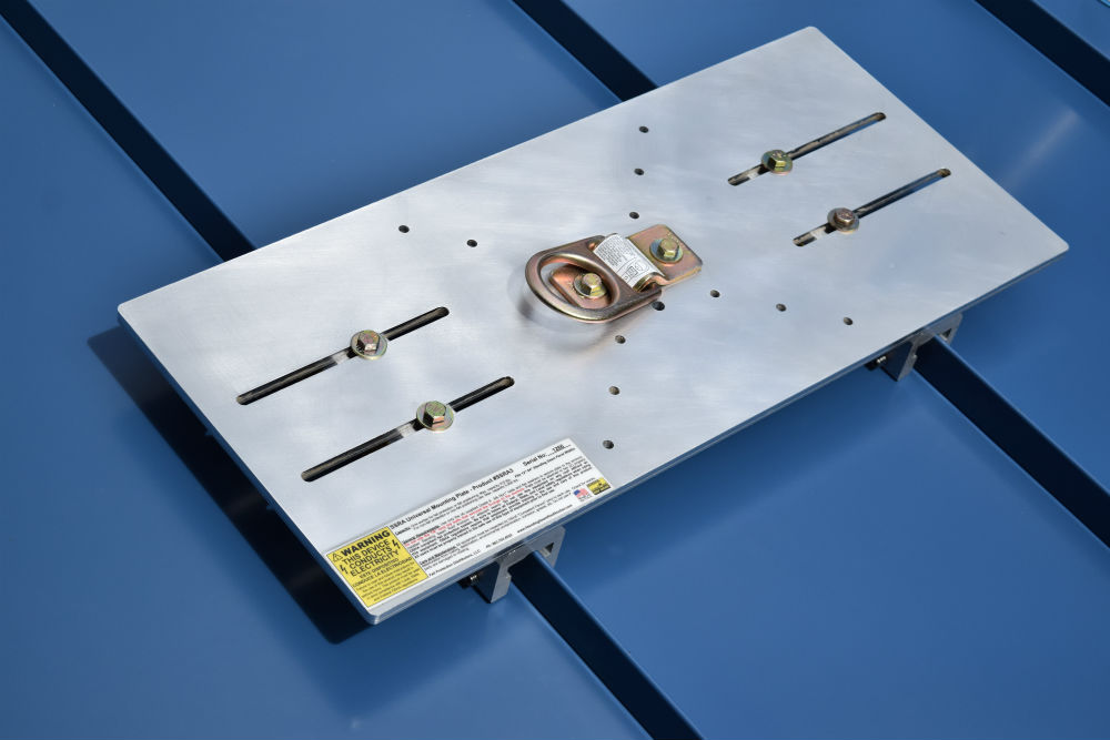 SSRA3 Anchor Plate installed on a standing seam using two SSRA1.