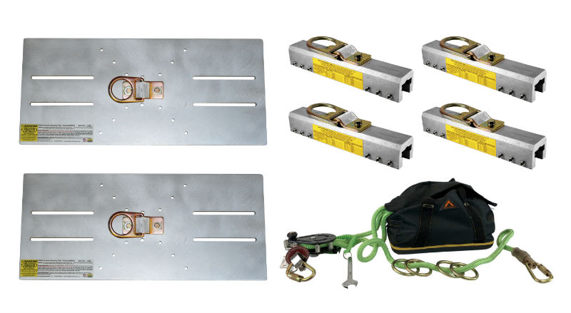 SSRA HLL kit for attaching a horizontal lifeline to a standing seam roof system safely.