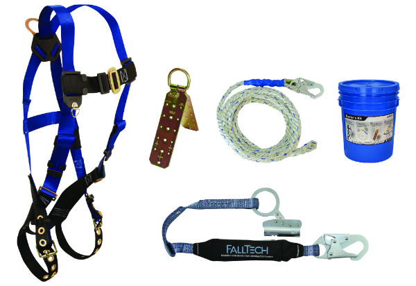 FallTech 8595A Roofer's Kit Includes Harness, Anchor, Lifeline, and Shock Absorbing Lanyard w/ Grab