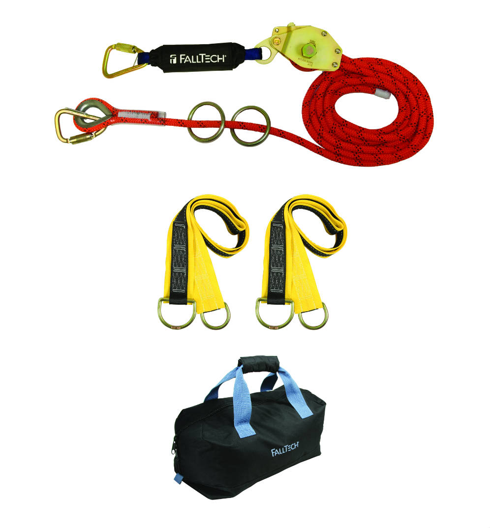 FallTech 77602K 2 Person Kernmantle Rope Horizontal Lifeline, Available in 60' and 100' Lengths