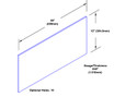 12in x 35in - .040, Muntz, Mirror Finish, Brass Kick Plates - On Door - Drawing