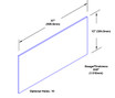 12in x 37in - .040, Muntz, Mirror Finish, Brass Kick Plates - On Door - Drawing