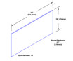 10in x 36in - 16ga, Brushed, Stainless Steel Kick Plate - On Door - Drawing