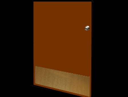 12in x 37in - .040, Muntz, Mirror Finish, Brass Kick Plates - On Door