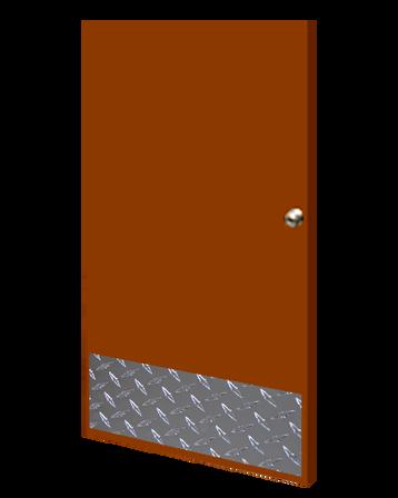 12in x 36in - .125, Tread Brite, Mirror Finish, Diamond Plate Kick Plates - On Door