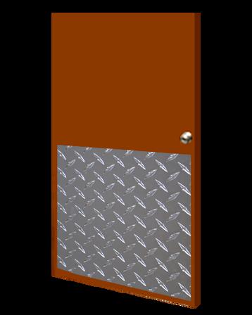 32in x 25in - .125, Tread Brite, Mirror Finish, Diamond Plate Armor Plates - On Door