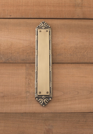 Ribbon & Reed Push Plate 2-1/2in x 13-3/4in, Antique Brass