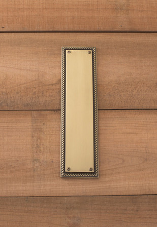 Academy Push Plate 3-1/8in x 12in, Antique Brass