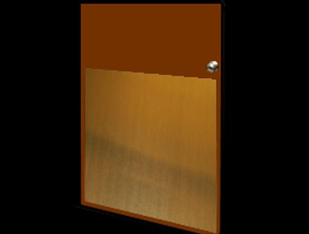 32in x 18in - .063, Muntz, Mirror Finish, Brass Armor Plates - On Door