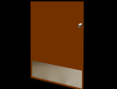 10in x 34in - 18ga, Brushed, Stainless Steel Kick Plates - On Door