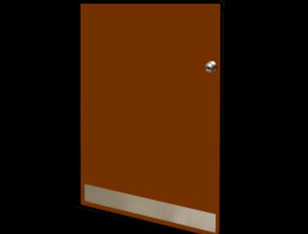 4in x 34in - 18ga, Brushed, Stainless Steel Mop Plates - On Door