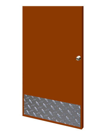 12in x 45in - .063, Tread Brite, Mirror Finish, Diamond Plate Kick Plates - On Door
