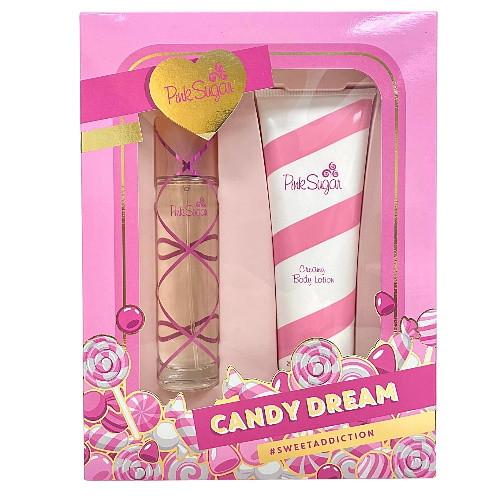 Pink Sugar by Aquolina 2pc Gift Set EDT 3.4 oz  + Creamy Body Lotion 8.45 oz for Women