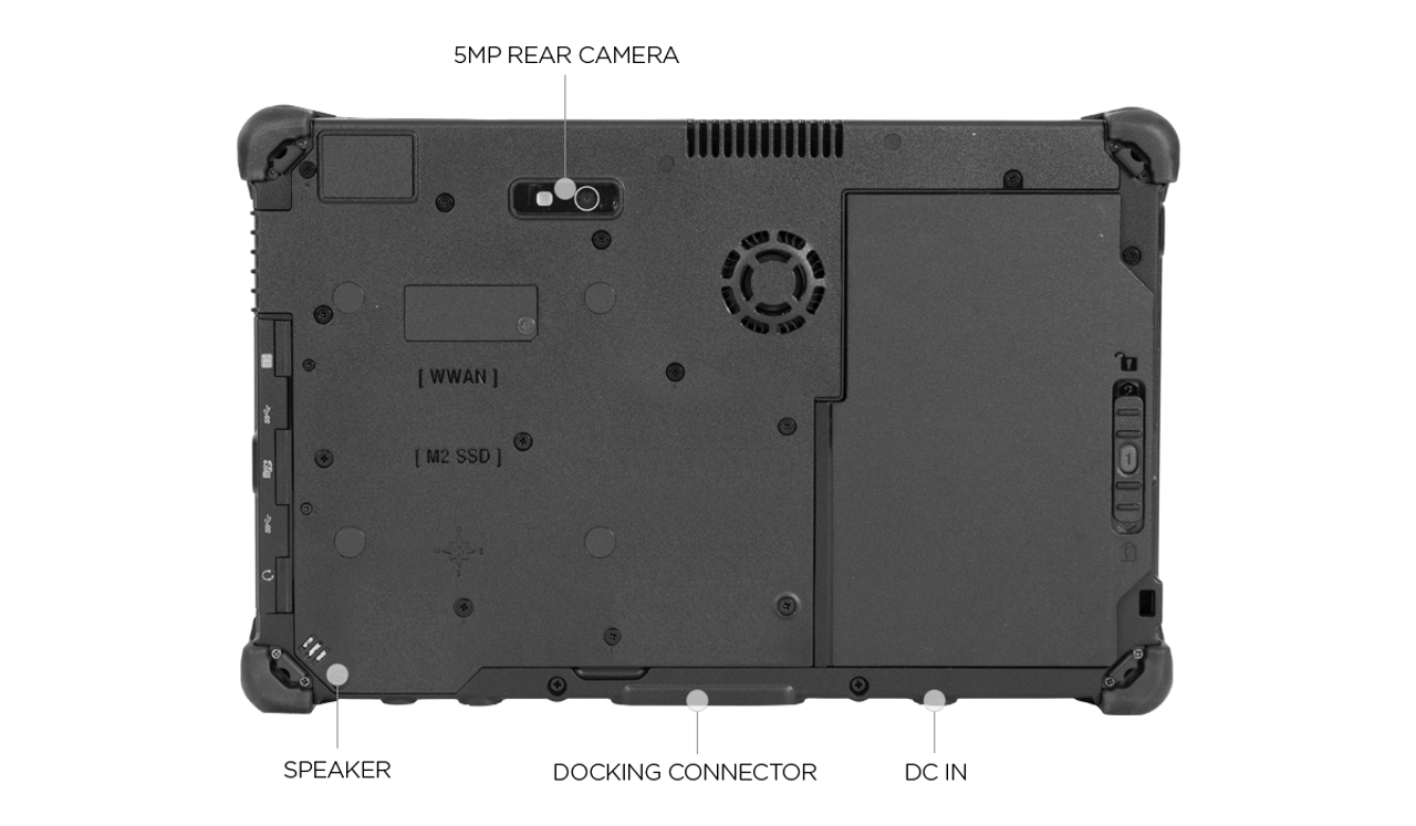 "Durabook R11(H6) Field, 11.6"" FHD (1920 x1080) Sunlight Readable 500 nits Touchscreen, Intel® Core ™ i5-8250U Processor 1.6GHz - 3.40 GHz, Win10 Pro, 8GB RAM, 128GB SSD, Bluetooth 5.0, GPS + 4G LTE, 2MP Front Camera, 5MP Rear Camera, 3-Year Warranty"