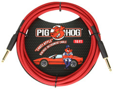"""Pig Hog """"Candy Apple Red"""" Instrument Cable, 10ft 1/4"""" S- 1/4"""" S"""