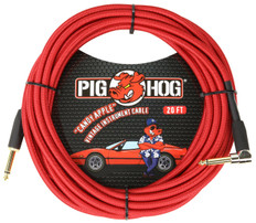 """Pig Hog """"Candy Apple"""" Instrument Cable, 20ft Right Angle"""