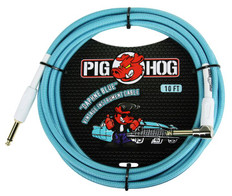 """Pig Hog """"Daphne Blue"""" Instrument Cable, 10ft 1/4"""" S- 1/4"""" Right Angle"""