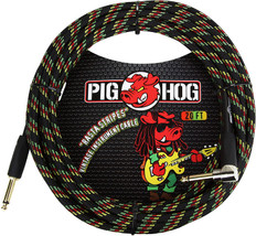 "Pig Hog ""Rasta Stripes"" Instrument Cable, 20ft Right Angle"