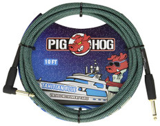 """Pig Hog """"Tahitian Blue"""" Instrument Cable, 10ft 1/4"""" S- 1/4"""" Right Angle"""