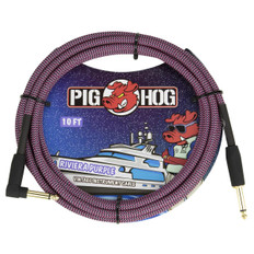 """Pig Hog """"Riviera Purple"""" Instrument Cable, 10ft 1/4"""" S- 1/4"""" Right Angle"""