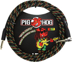 """Pig Hog """"Rasta Stripes"""" Instrument Cable, 10ft 1/4"""" S- 1/4"""" Right Angle"""