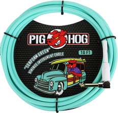 """Pig Hog """"Seafoam Green"""" Instrument Cable, 10ft 1/4"""" S- 1/4"""" Right Angle"""