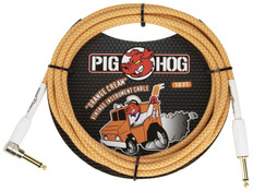 """Pig Hog """"Orange Creme"""" Instrument Cable, 10ft 1/4"""" S- 1/4"""" Right Angle"""