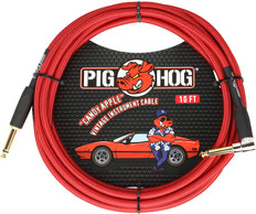 """Pig Hog """"Candy Apple Red"""" Instrument Cable, 10ft 1/4"""" S- 1/4"""" Right Angle"""