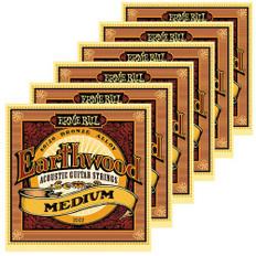 Ernie Ball 2002 Medium Earthwood 80/20 Bronze Acoustic Guitar Strings 6 Pack Special